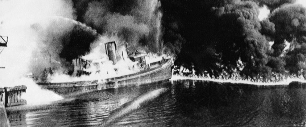 PHOTO: A fire tug fights flames on the Cuyahoga River near downtown Cleveland, where oil and other industrial wastes caught fire June 25, 1952.