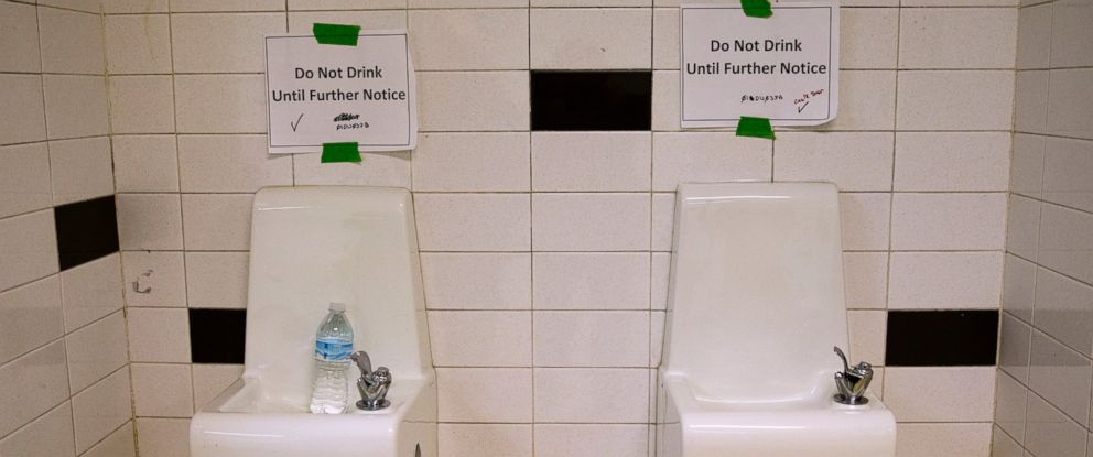"PHOTO: Drinking fountains are marked ""Do Not Drink Until Further Notice"" at Flint Northwestern High School in Flint, Mich., May 4, 2016."