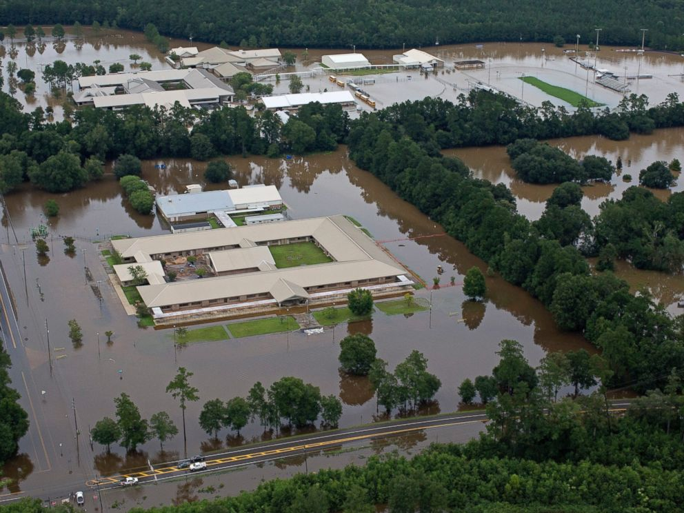 PHOTO: This aerial photo over Hammond, Louisiana, shows flooded Hammond Eastside Elementary Magnet School and Hammond High Magnet School after heavy rains inundated the region, Aug. 13, 2016.