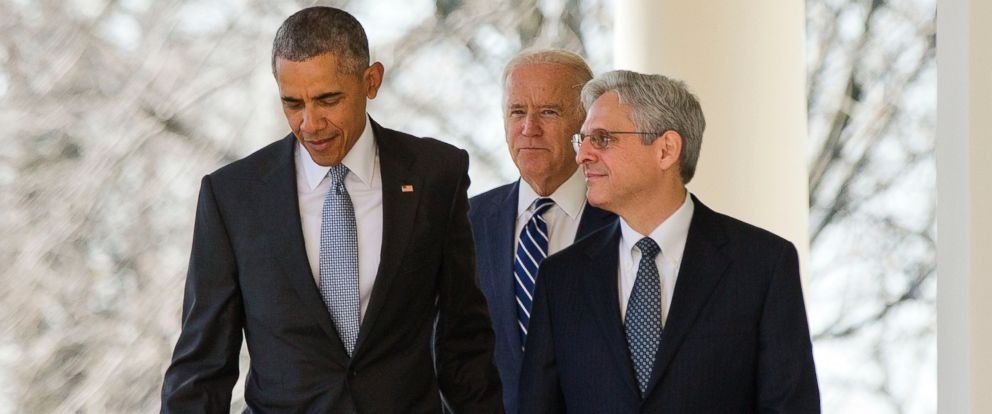 PHOTO: Federal appeals court judge Merrick Garland, walks out with President Barack Obama and Vice President Joe Biden as he is introduced as Obamas nominee for the Supreme Court during an announcement in Washington, March 16, 2016.