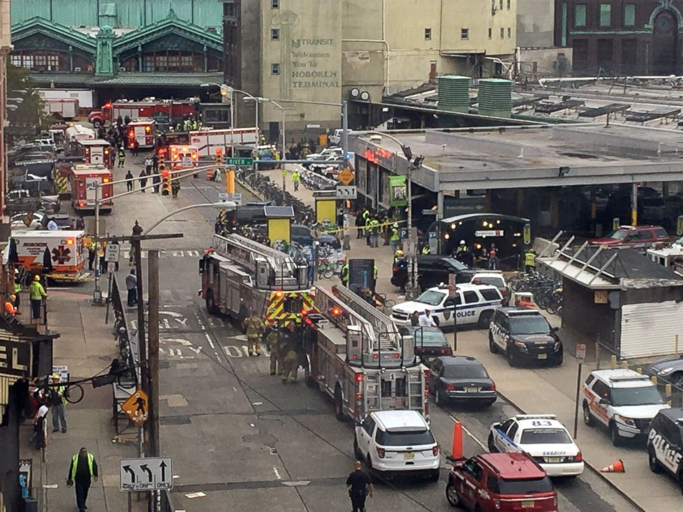 PHOTO: Emergency personnel arrive at the scene of a train crash in Hoboken, New Jersey, Sept. 29, 2016.