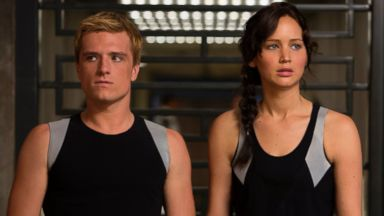 "PHOTO: Josh Hutcherson as Peeta Mellark, left, and Jennifer Lawrence as Katniss Everdeen in a scene from ""The Hunger Games: Catching Fire."""