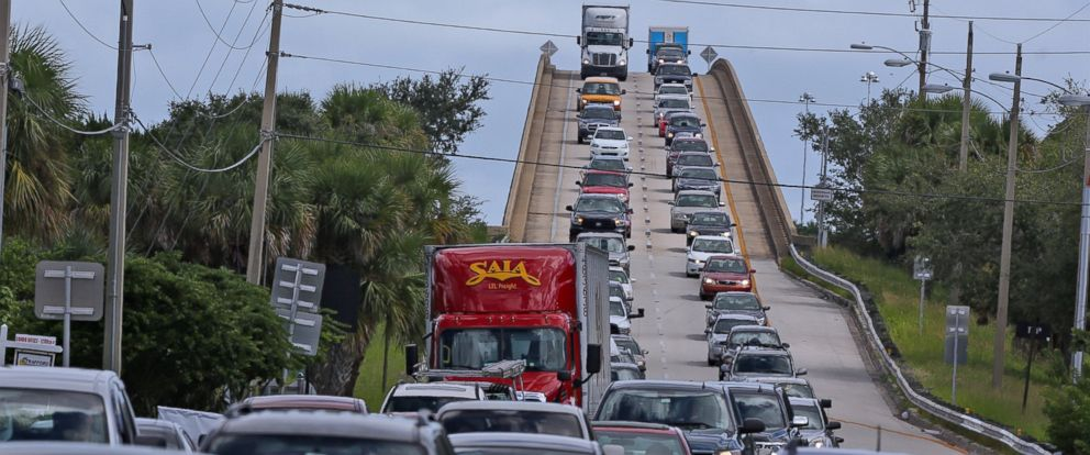 PHOTO: People in vehicles make an evacuation route over 520 bridge heading west from Merritt Island, Florida, Oct. 5, 2016, as Hurricane Matthew approaches Florida.