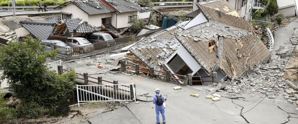 PHOTO: Resident houses are seen destroyed after an earthquake in Mashiki, Kumamoto prefecture, in southern Japan on Saturday, April 16, 2016.