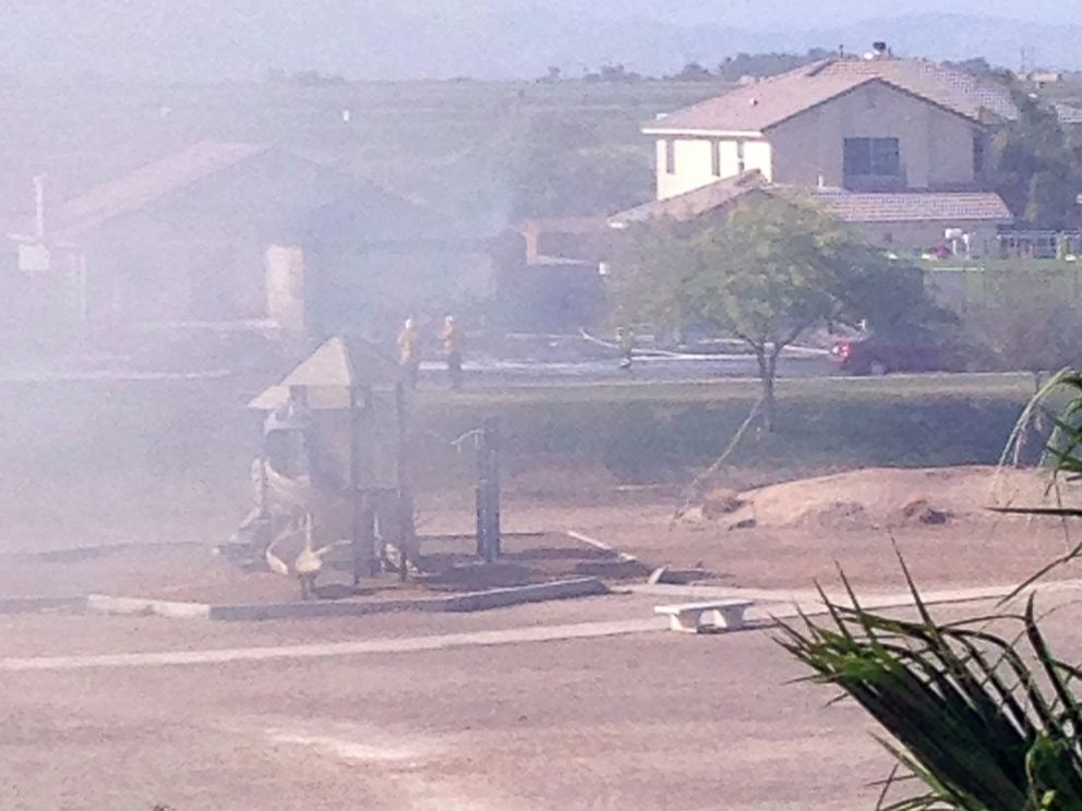 PHOTO: A military jet crashed in a residential neighborhood in Imperial, Calif., June 4, 2014, leaving heavy smoke in the area.