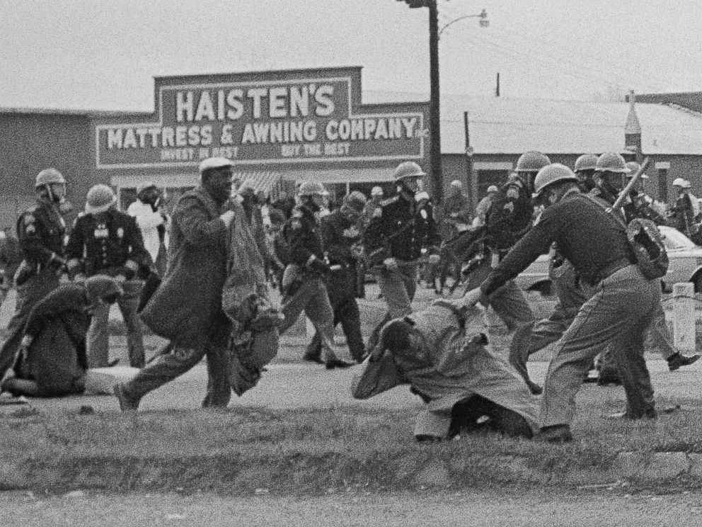 PHOTO: State troopers swing billy clubs to break up a civil rights voting march in Selma, Ala., March 7, 1965. John Lewis, chairman of the Student Nonviolent Coordinating Committee, in the foreground, is being beaten by a state trooper.