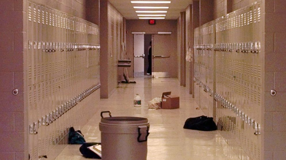 Backpacks and cleaning supplies lie in the hallway of Westside Middle School  in Jonesboro bd0171f10c233