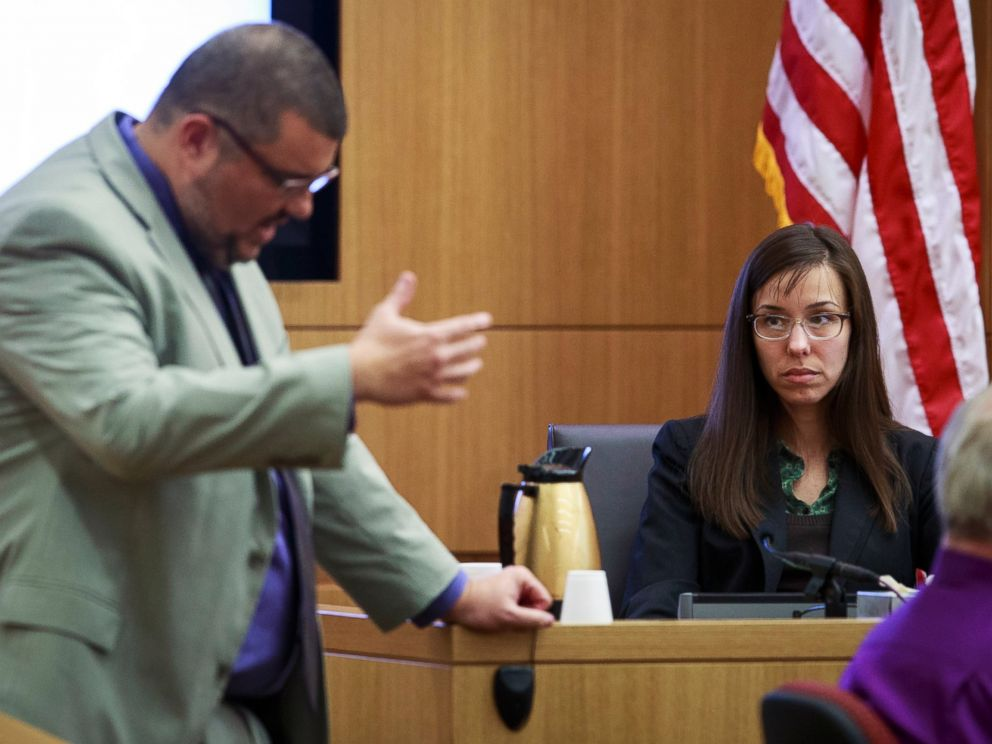 PHOTO: Defense attorney Kirk Nurmi questions defendant Jodi Arias about her relationship with Travis Alexander during her trial at Judge Sherry Stephens Superior Court, Feb. 6, 2013.