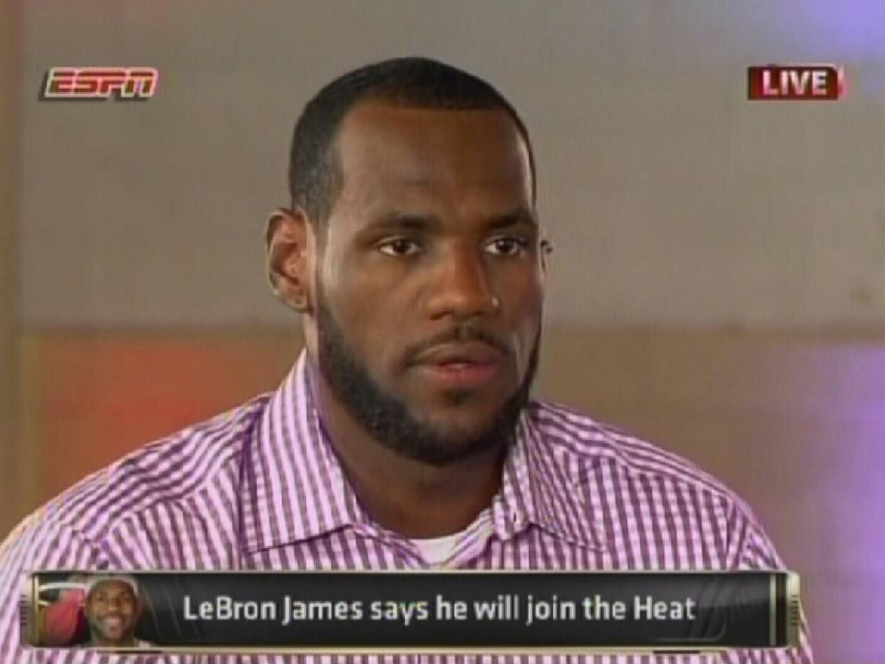 PHOTO: LeBron James speaks about his decision to play for the Miami Heat during an interview