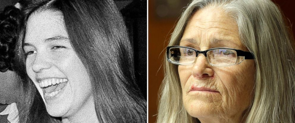 PHOTO: Leslie Van Houten burst out laughing as she came within range of news cameras en route to court in Los Angeles, August, 1970. | Leslie Van Houten is seen during a hearing before the California Board of Parole Hearings, April 14, 2016.