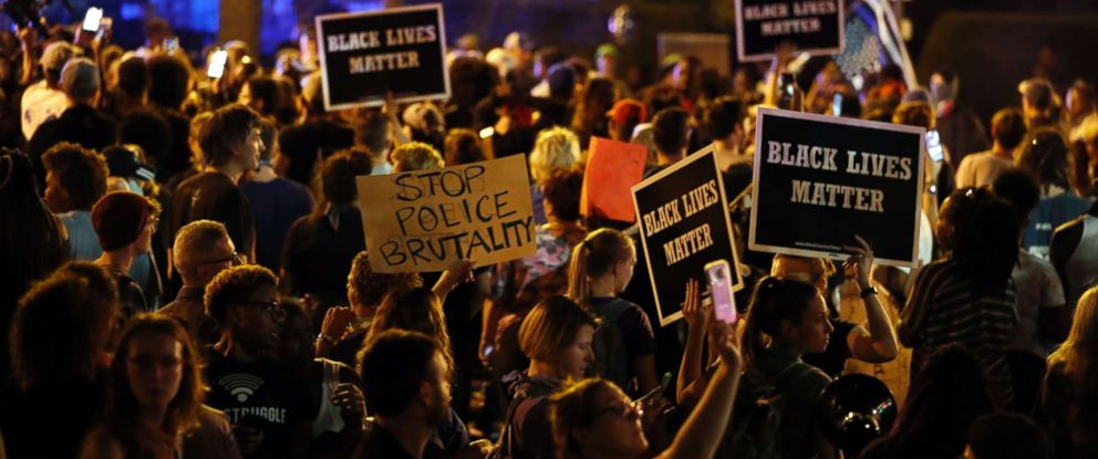 PHOTO: Protesters gather, Friday, Sept. 15, 2017, in St. Louis, after a judge found a white former St. Louis police officer, Jason Stockley, not guilty of first-degree murder in the 2011 death of a black man, Anthony Lamar Smith.