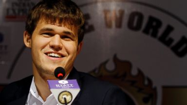 PHOTO: Norway?s Magnus Carlsen smiles as he answers a question during a press conference after winning the match against India?s Viswanathan Anand during the Chess World Championship match in Chennai, India, Friday, Nov. 22, 2013.