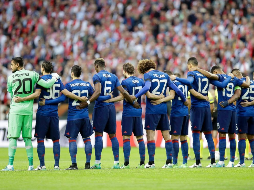 PHOTO: Manchesters team observe a minute of silence to commemorate the victims of the Manchester attack prior to the start of the Europa League final between Ajax Amsterdam and Manchester United at the Friends Arena in Stockholm, Sweden, May 24, 2017.