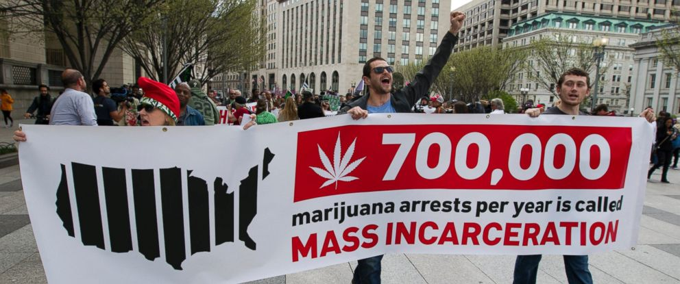 PHOTO: Demonstrators march for the legalization of marijuana outside of the White House, in Washington, April 2, 2016.