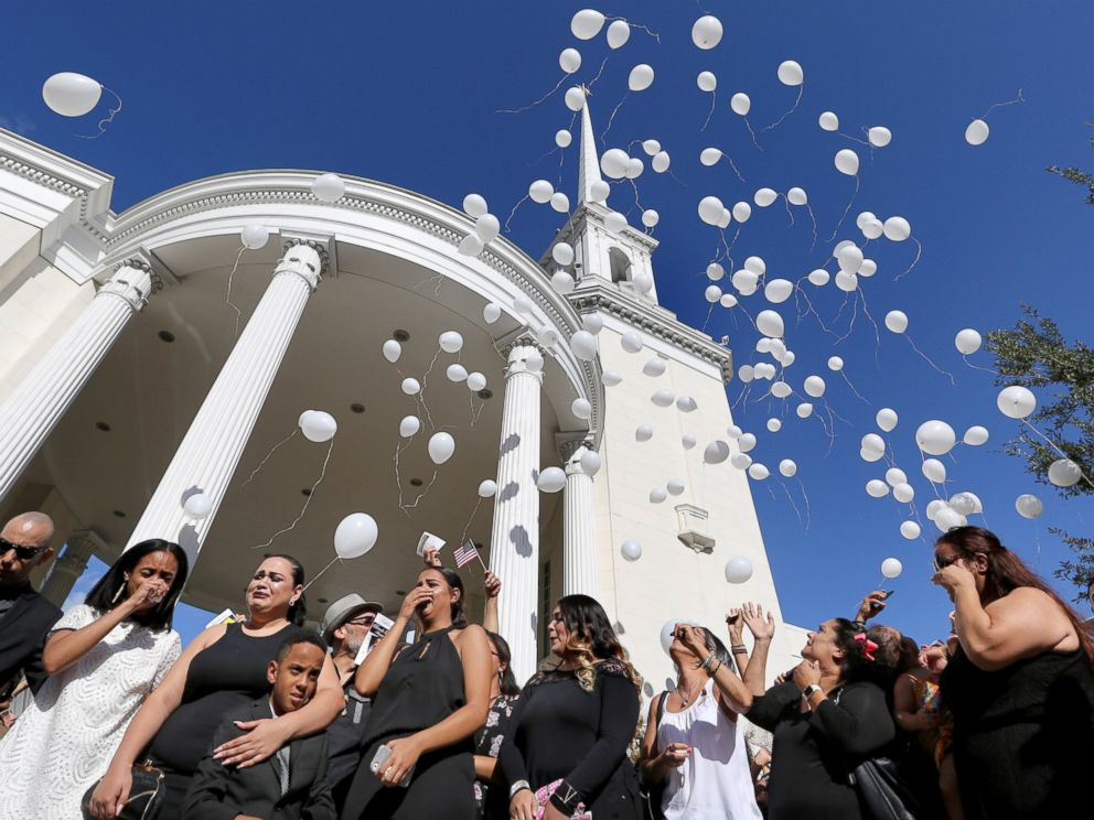 PHOTO: Family members release 49 white balloons at the funeral of Pulse shooting victim Brenda Lee Marquez McCool at First United Methodist Church in downtown Orlando, June 20, 2016.