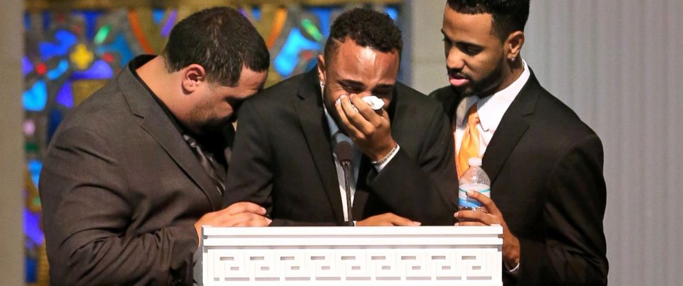 PHOTO: Sons, from left, Michael Marquez, Isaiah Henderson and Robert Presley grieve during the funeral of Pulse shooting victim Brenda Lee Marquez McCool at First United Methodist Church in downtown Orlando, June 20, 2016.