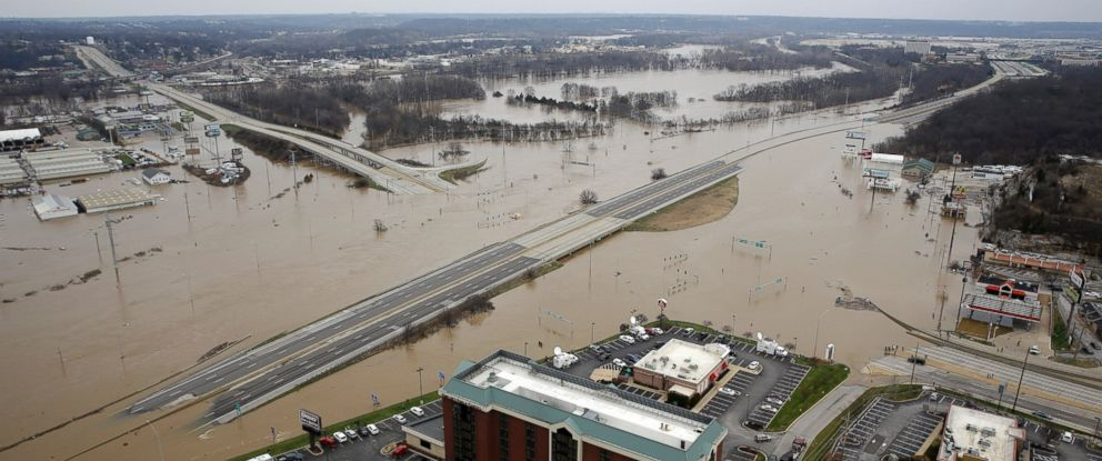 PHOTO: In this aerial photo, flood water covers Interstate 44, Dec 30, 2015, in Valley Park, Mo.