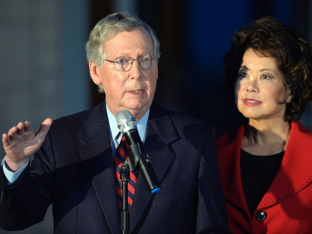 PHOTO: Senate Minority Leader Mitch McConnell of Ky., left, is joined by his wife Elaine Chao as he speaks to media at Donamire Farm in Lexington, Ky., Oct. 2, 2014.