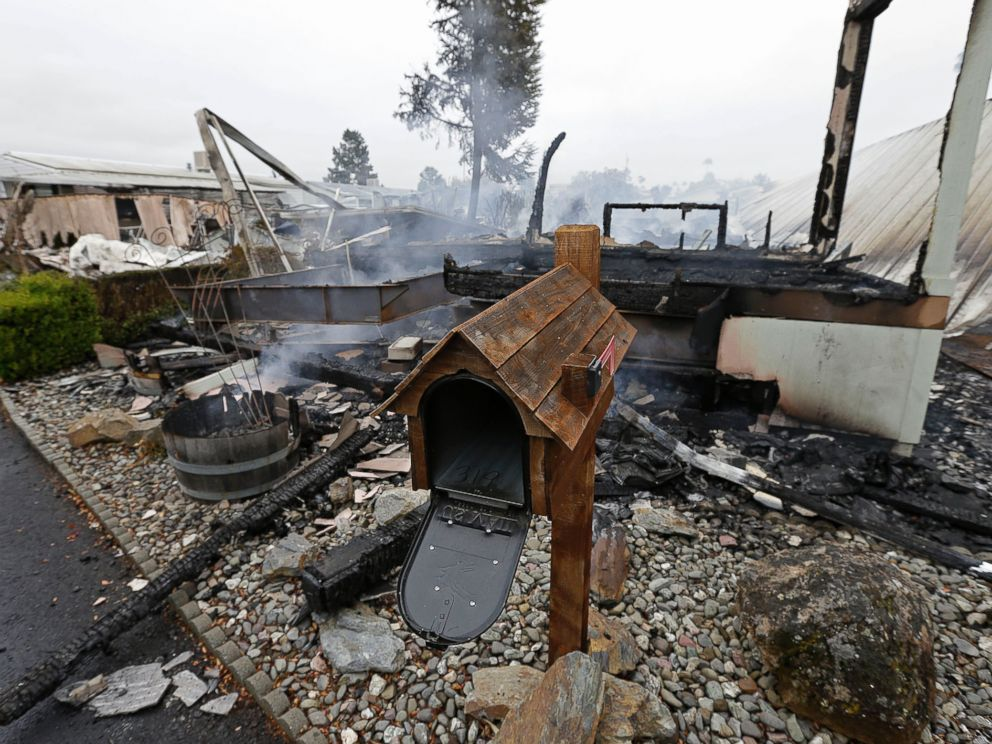 PHOTO: A mailbox is all that remains of one of four mobile homes which were destroyed in a gas fire Sunday, Aug. 24, 2014, at the Napa Valley Mobile Home Park, in Napa, Calif.
