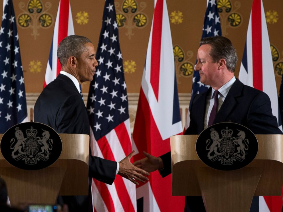 PHOTO: President Barack Obama and British Prime Minister David Cameron shake hands during a joint news conference at 10 Downing Street, Camerons official residence, in London, April 22, 2016.