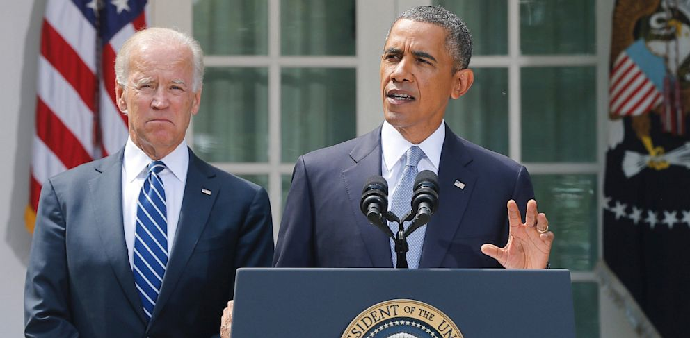 PHOTO: President Barack Obama stands with Vice President Joe Biden
