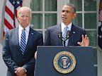 PHOTO: President Barack Obama stands with Vice President Joe Biden