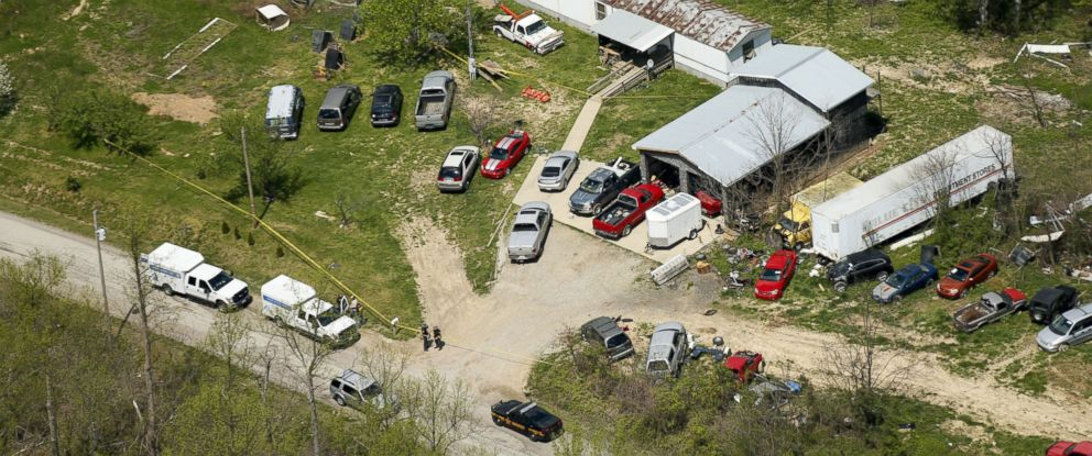 PHOTO: This aerial photo shows one of the locations being investigated in Pike County, Ohio, as part of an ongoing homicide investigation, April 22, 2016.