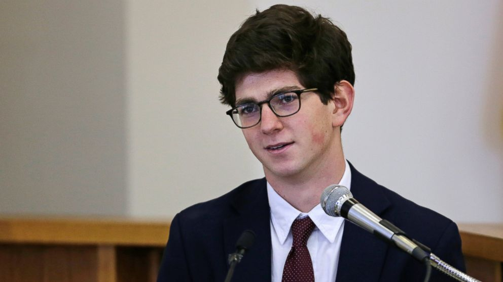 Former St. Paul's School student Owen Labrie testifies in his trial at Merrimack Superior Court in Concord, N.H., Aug. 26, 2015.