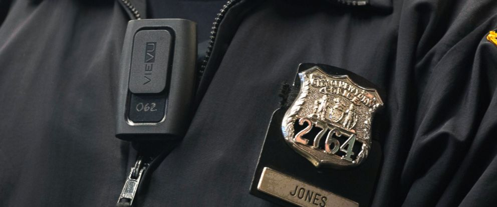 PHOTO: New York Police Department officer Joshua Jones wears a VieVu body camera on his chest during a news conference, Dec. 3, 201,4 in New York.