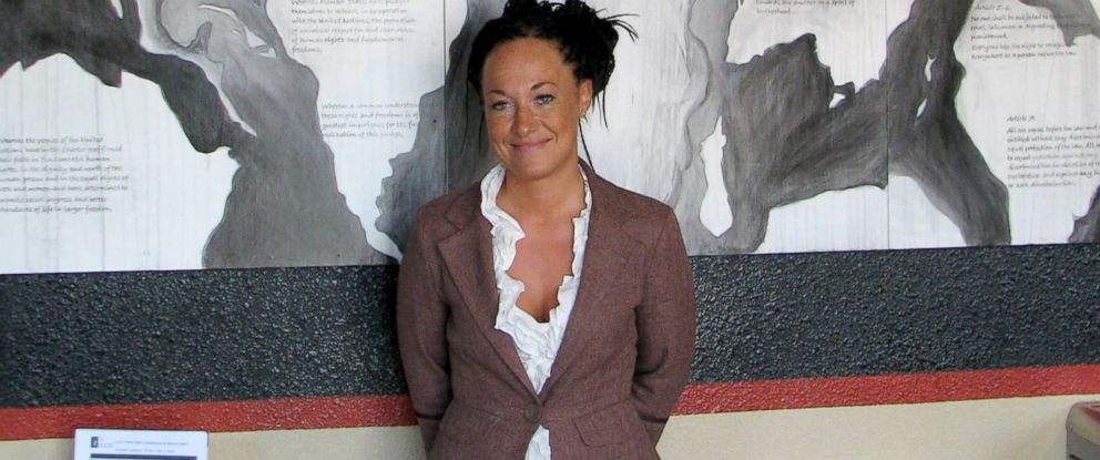 PHOTO: Rachel Dolezal, a leader of the Human Rights Education Institute, stands in front of a mural she painted at the institutes offices in Coeur dAlene, Idaho, July 24, 2009.