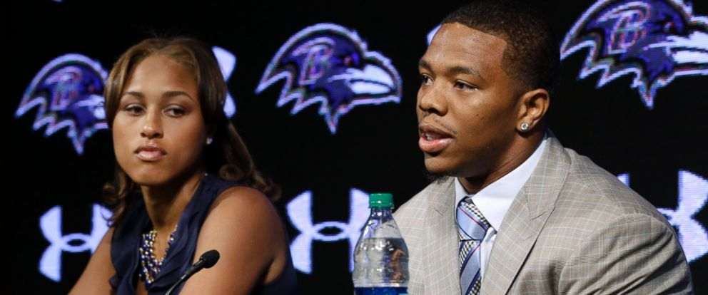 Baltimore Ravens running back Ray Rice, right, speaks alongside his wife, Janay, during a news conference at the teams practice facility in Owings Mills, Md., in this May 23, 2014, file photo.