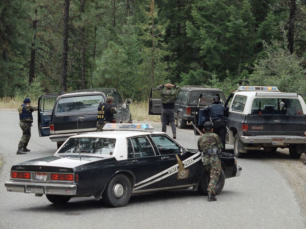 PHOTO: Agents of the Bureau of Alcohol Tobacco and Firearms and the Idaho State Patrol arrest people attempting to reach the Weavers cabin three miles from the site of the four-day standoff with Randy Weaver on Aug. 25, 1992.