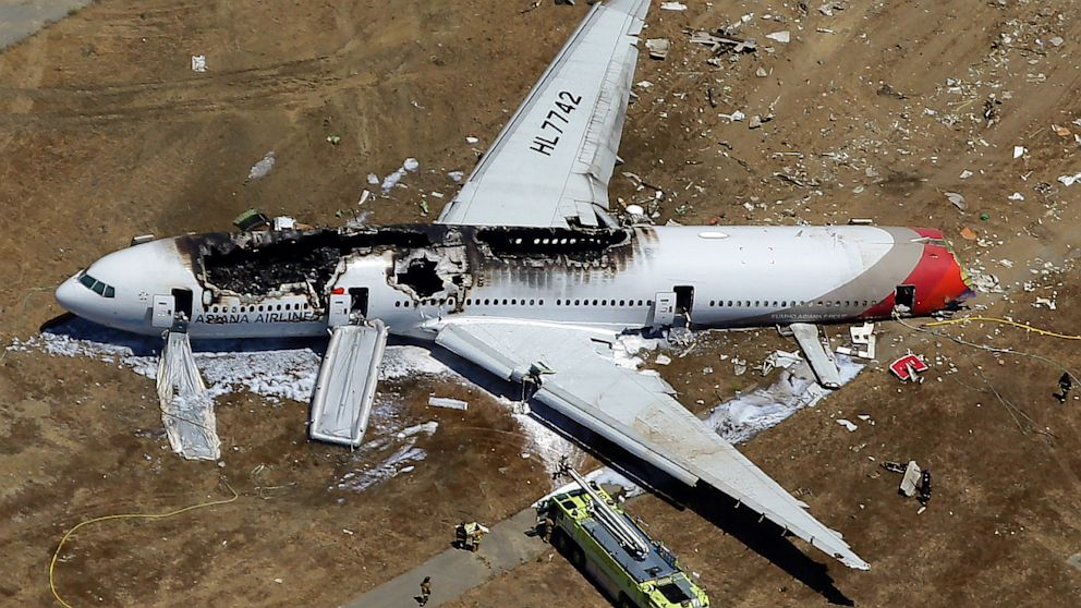 Asiana Flight 214 lies on the ground after it crashed at the San Francisco International Airport, in San Francisco, July 6, 2013.
