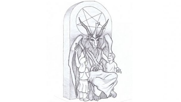 This artist's rendering provided by the Satanic Temple shows a proposed monument that the New York-based Satanic group wants to place at the Oklahoma state Capitol.
