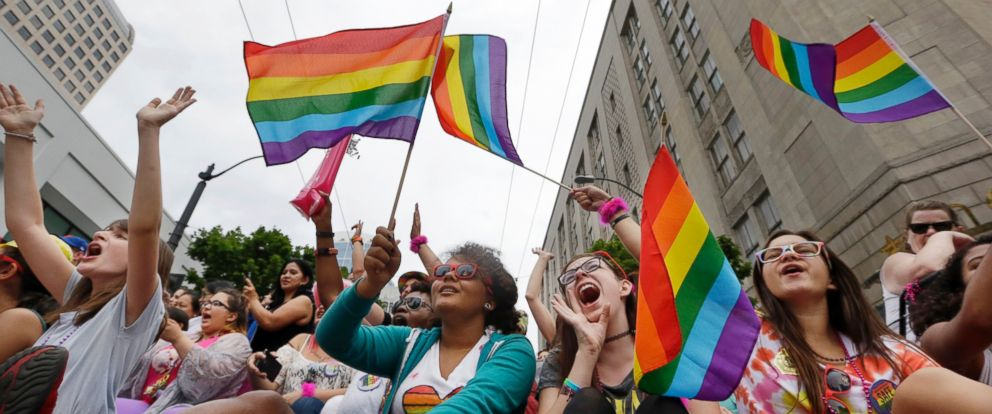 PHOTO: Parade viewers cheer at the 41st annual Pride Parade, June 28, 2015, in Seattle.