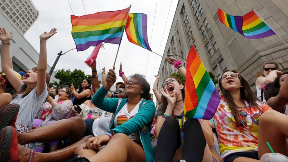 Parade viewers cheer at the 41st annual Pride Parade,  June 28, 2015, in Seattle.
