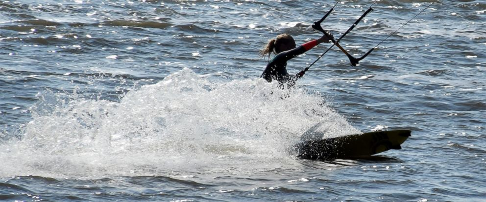PHOTO: A kitesurfer enjoys the water in Cuxhaven-Doese, Germany, Sept. 25, 2016.