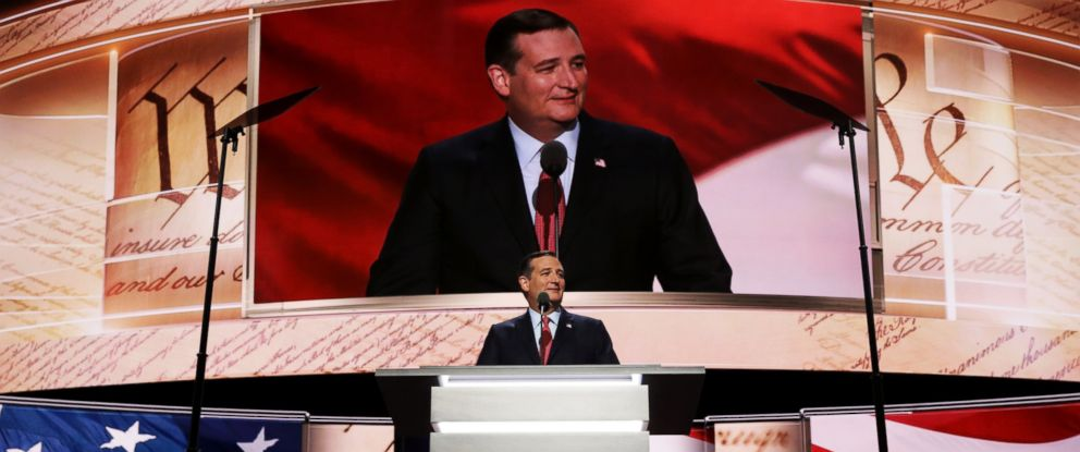 PHOTO: Sen. Ted Cruz (R-TX) delivers a speech on the third day of the Republican National Convention, July 20, 2016, at the Quicken Loans Arena in Cleveland, Ohio.