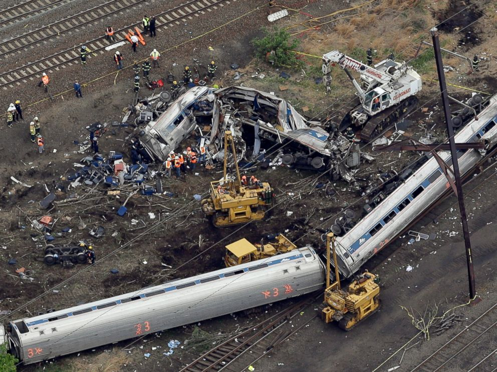 PHOTO: Emergency personnel work at the scene of a deadly train derailment in this May 13, 2015 file photo in Philadelphia.