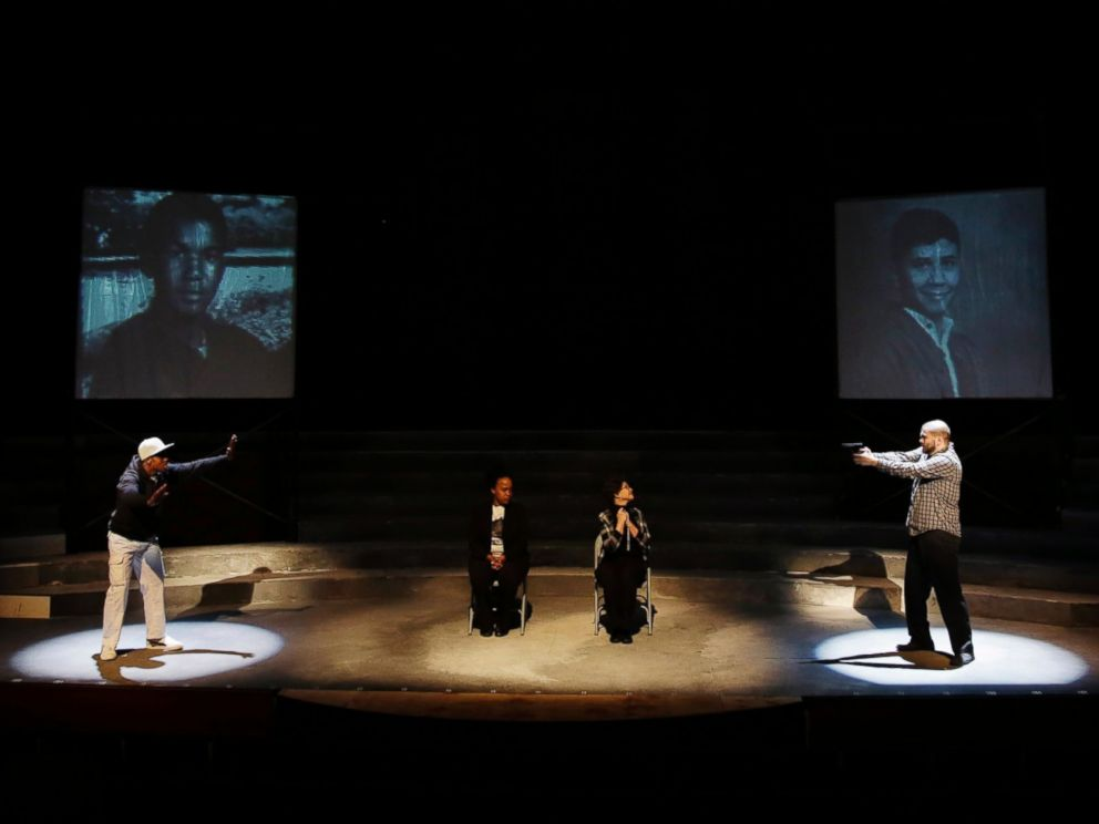 PHOTO: Cast members Amir Randall, from left, Angel Brice, Donna Cherry and Christopher David Roche rehearse a scene for The Ballad of Trayvon Martin at the New Freedom Theatre in Philadelphia, May 10, 2016.