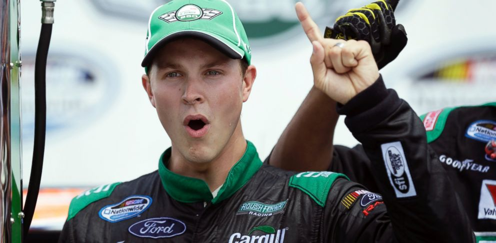 PHOTO: Trevor Bayne reacts after winning the NASCAR Nationwide auto race at Iowa Speedway in Newton, Iowa.