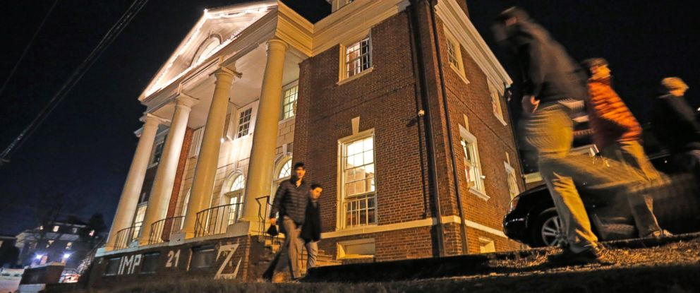 PHOTO: Students pass by the Phi Kappa Psi house at the University of Virginia in Charlottesville, Va. in this Jan. 15, 2015 file photo.