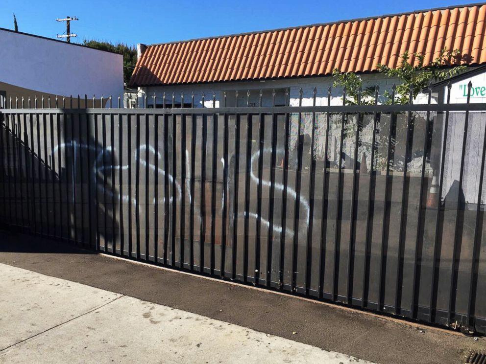 PHOTO:This photo provided by the Ahmadiyya Muslim Community muslimsforpeace.org shows Jesus in spray paint vandalizing a gate at the Ahmadiyya Muslim Community Baitus-Salaam Mosque in Hawthorne, Calif., Dec. 13, 2015.