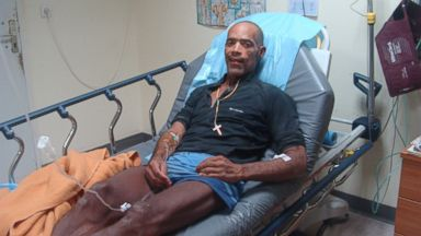 PHOTO: Victor Mooney, 48, of Flushing, Queens, New York lays in his hospital bed after arriving in Saint-Martin, June 27, 2014.