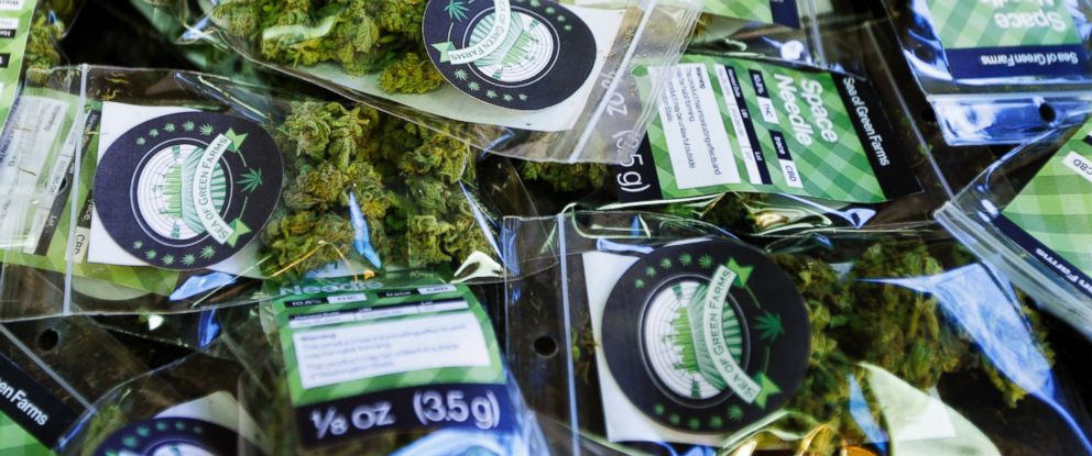 """PHOTO: Packets of a variety of recreational marijuana named """"Space Needle"""" are shown during packaging operations at Sea of Green Farms in Seattle, July 1, 2014."""
