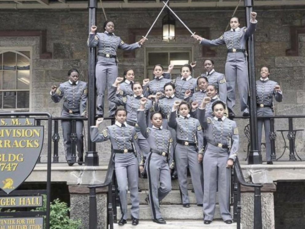 PHOTO: This undated image obtained from Twitter, May 7, 2016, shows 16 black, female cadets in uniform with their fists raised while posing for a photograph at the United States Military Academy at West Point, N.Y.