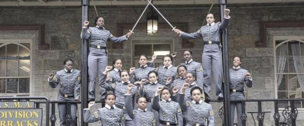 PHOTO: This undated image obtained from Twitter on May 7, 2016 shows 16 black, female cadets in uniform with their fists raised while posing for a photograph at the United States Military Academy at West Point, N.Y.