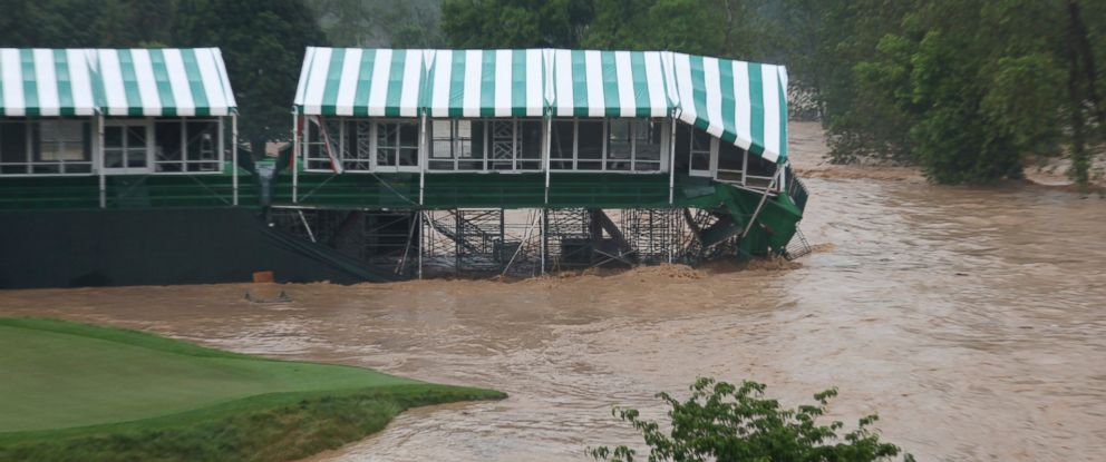PHOTO: This Thursday June 23, 2016 image provided by the Greenbrier shows flooding on the 18th green of the Old White Course at the Greenbrier in White Sulphur Springs, W. Va.