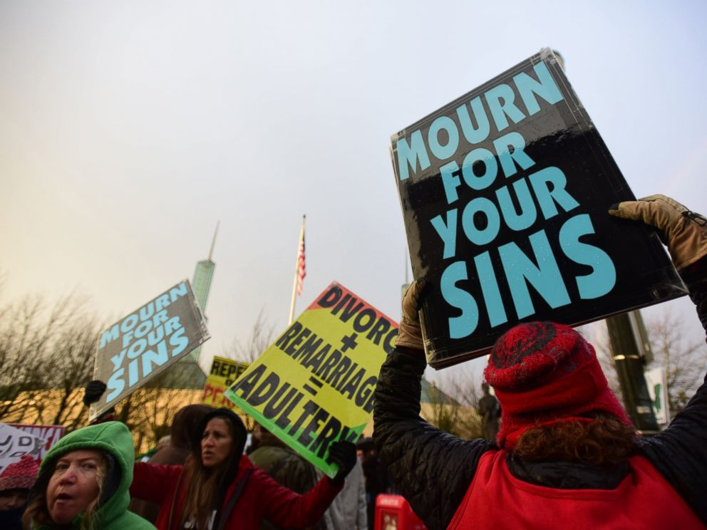 PHOTO: Westboro Baptist Church members take part in a picket outside of the Gay Christian Network Conference held at the Convention Center in Portland, Ore., Jan. 10, 2015.