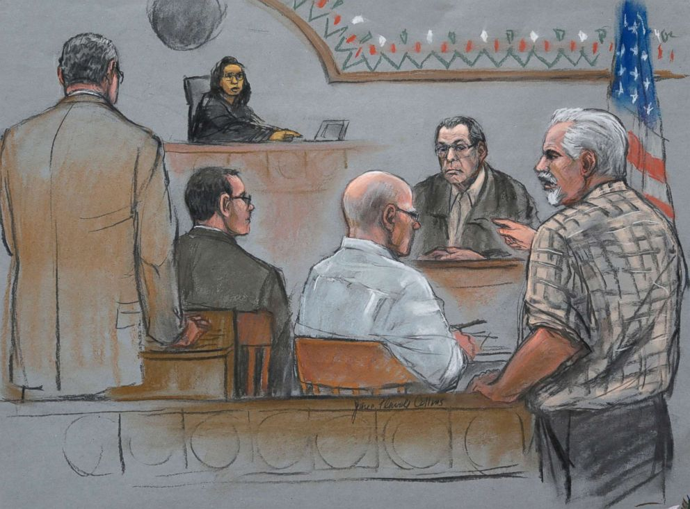 PHOTO: This courtroom sketch depicts Steve Davis, right, brother of homicide victim Debra Davis, allegedly killed by James Whitey Bulger, center, at U.S. District Court in Boston, July 22, 2013.